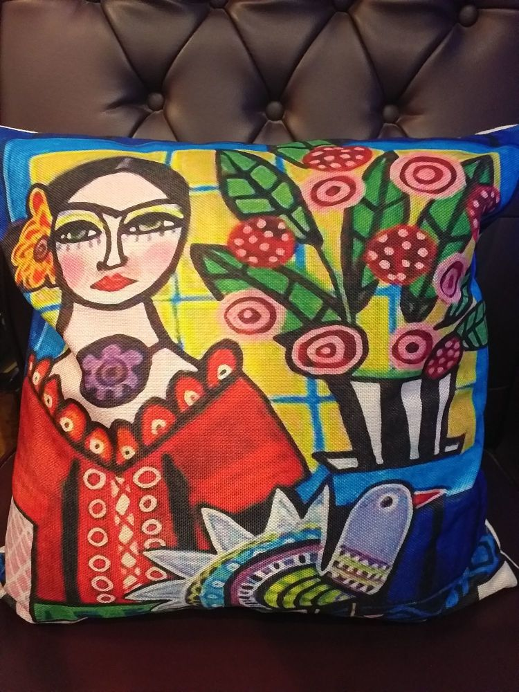 Printed Woven Cushion - Frida 3
