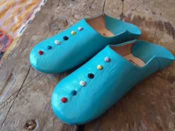 Authentic Babouche Slippers - Turquoise/Green Pom Size 3/4