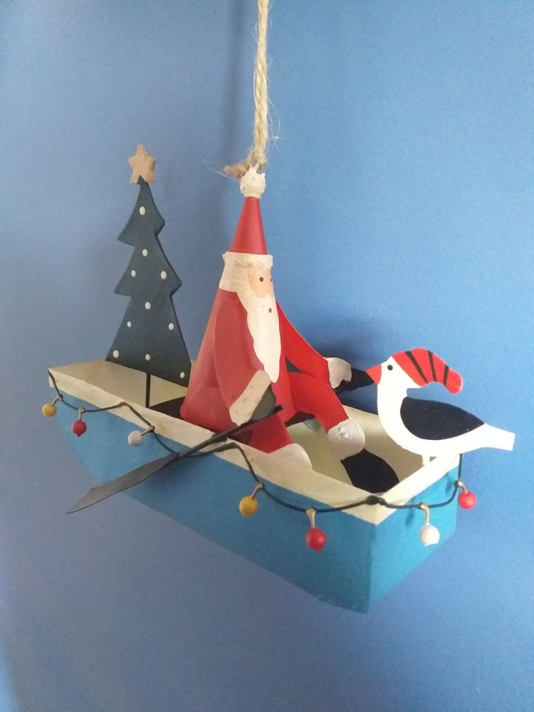 Metal Fairy Light Santa Boat