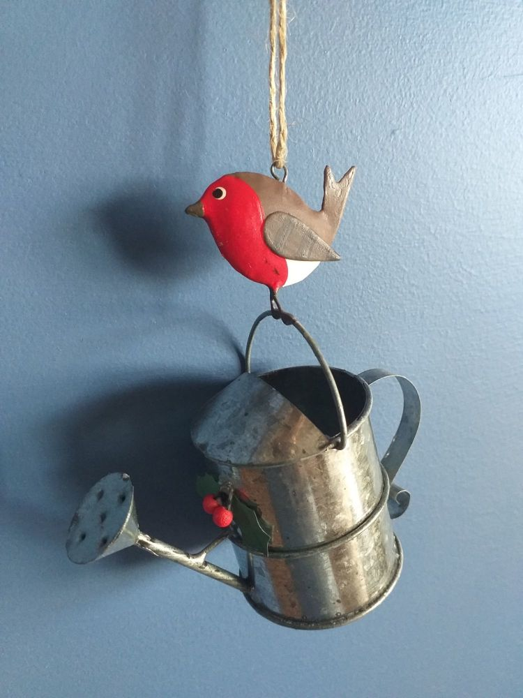 Metal Robin and Watering Can