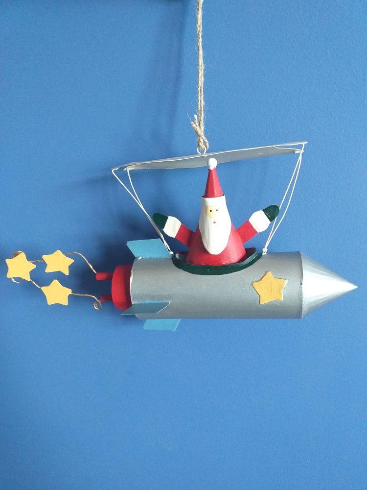 Metal Santa in Rocket