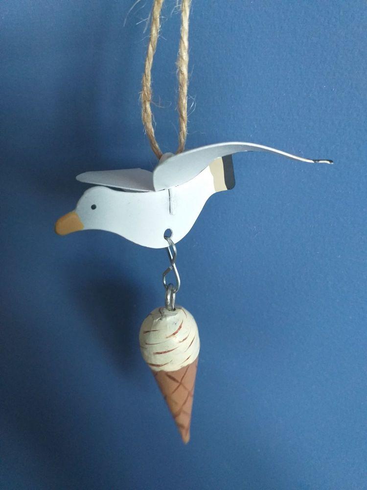 Metal Seagull Stealing Ice Cream
