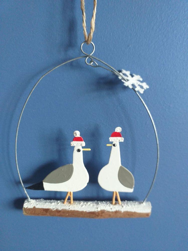 Metal Seagulls on Twig