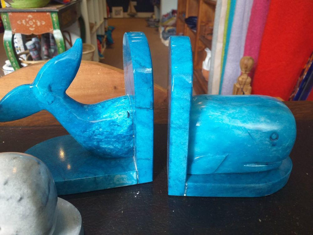 Whale Bookends - Blue