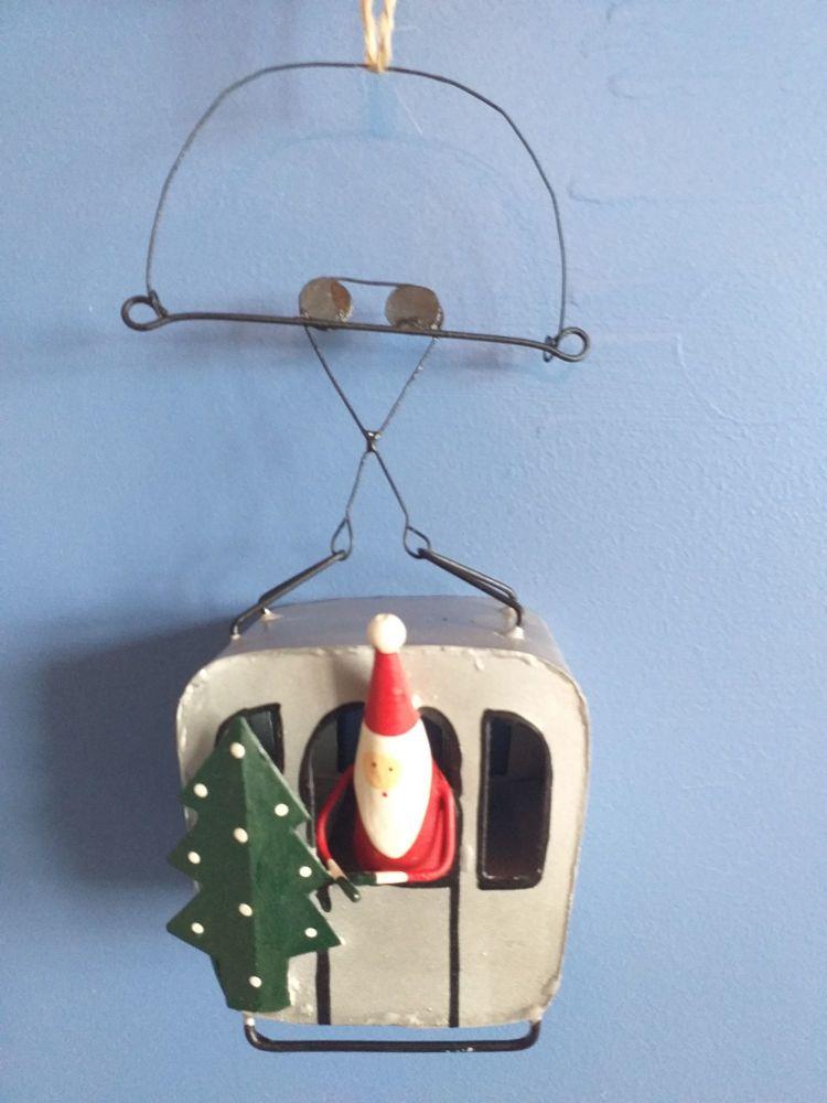 Metal Cable Car Santa