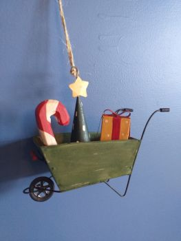 Metal Christmas Wheelbarrow