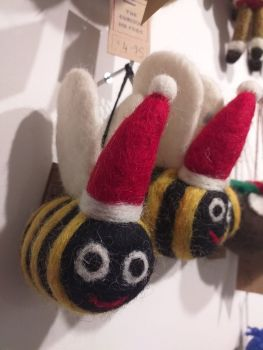 Felt Bee with Santa Hat