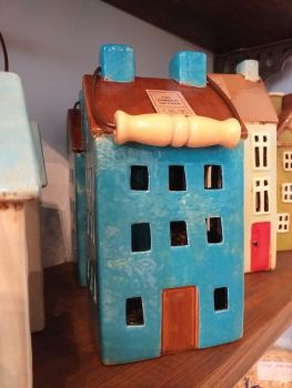 Ceramic Tealight House - Blue