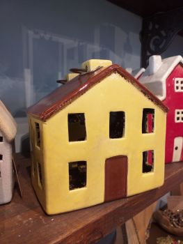 Ceramic Tealight House - Yellow