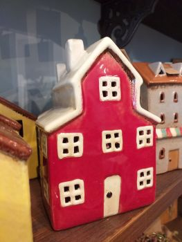 Ceramic Tealight House - Red Cottage
