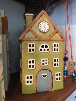 Ceramic Tealight House - Green Clock House