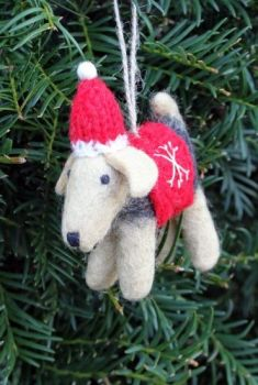 Felt Terrier with Hat
