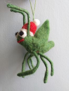 Felt Cricket in Santa Hat