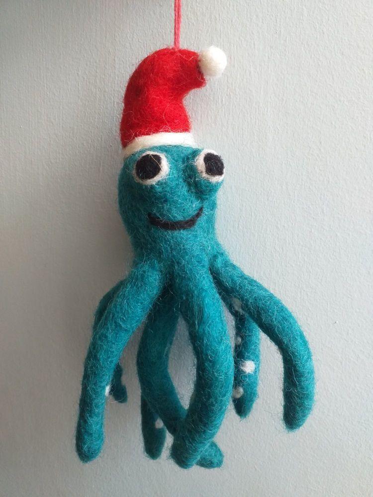 Felt Octopus in Santa Hat