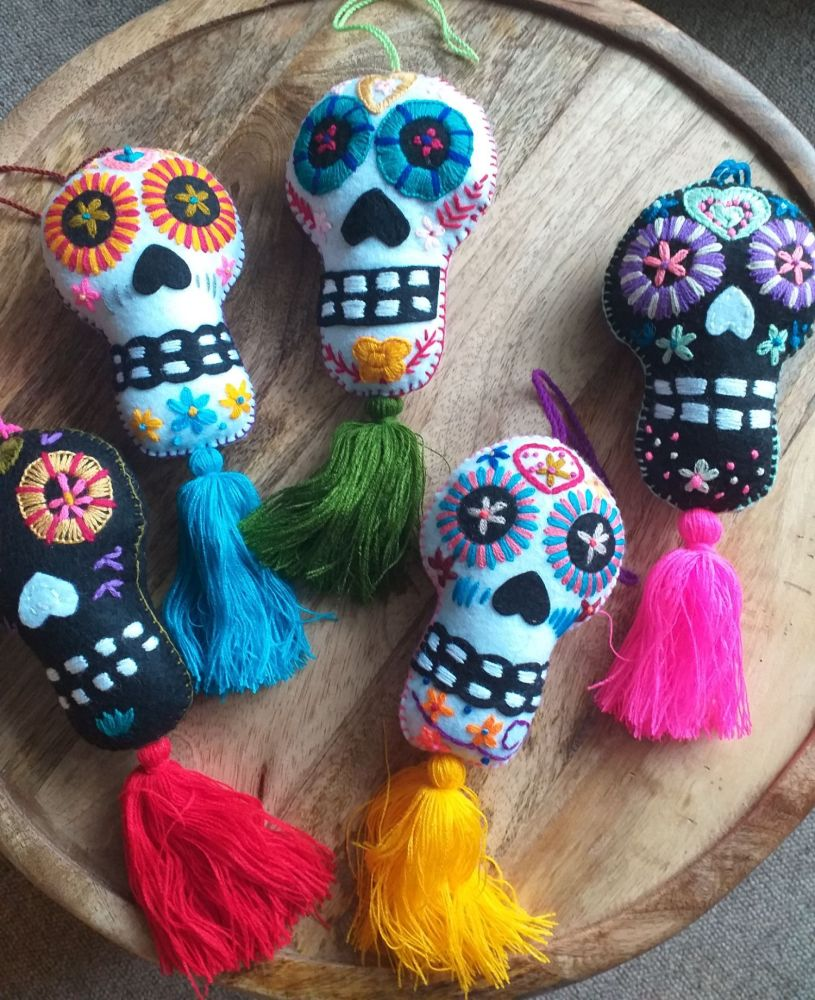 Day of the Dead Embroidered Felt Skull