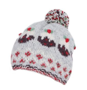 Christmas  Pudding Bobble Beanie Hat