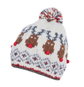 Rudolph Christmas Bobble Beanie Hat