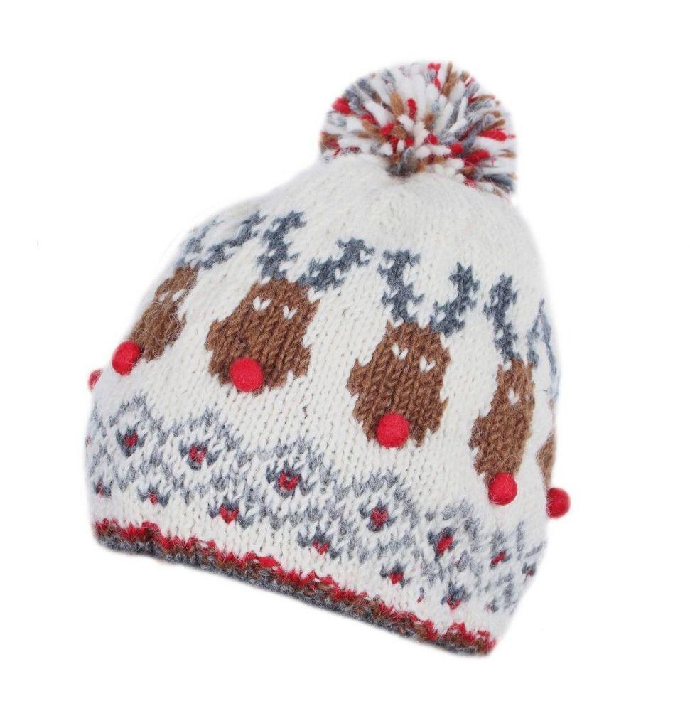 Rudolph Christmas Bobble Beanie Hat
