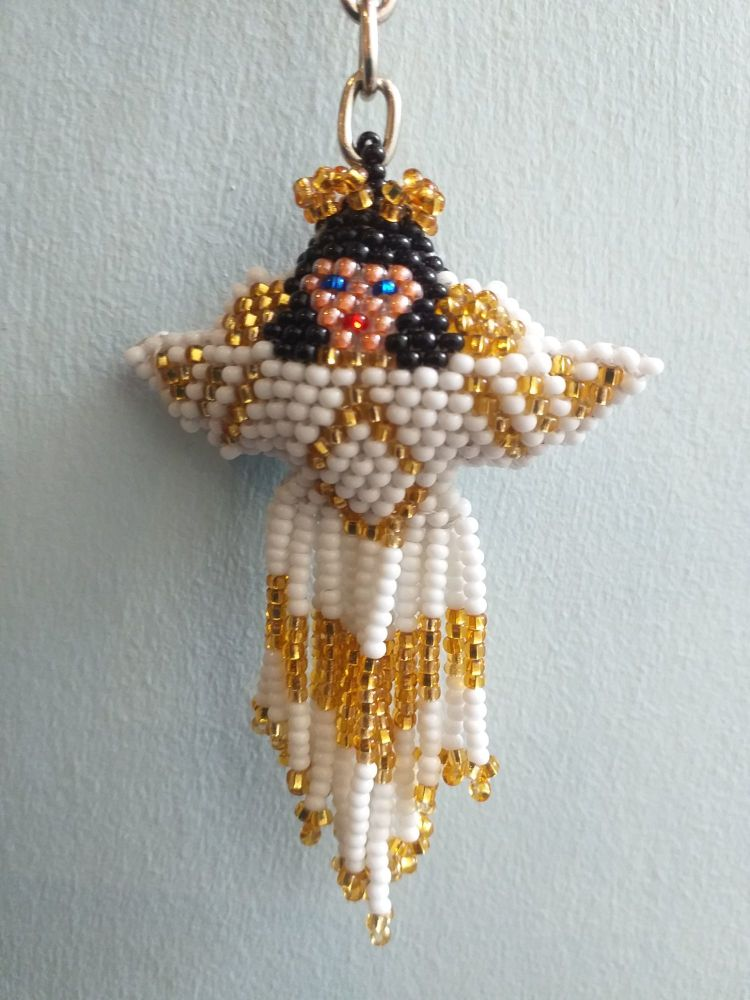 Beaded Keyring - Angel