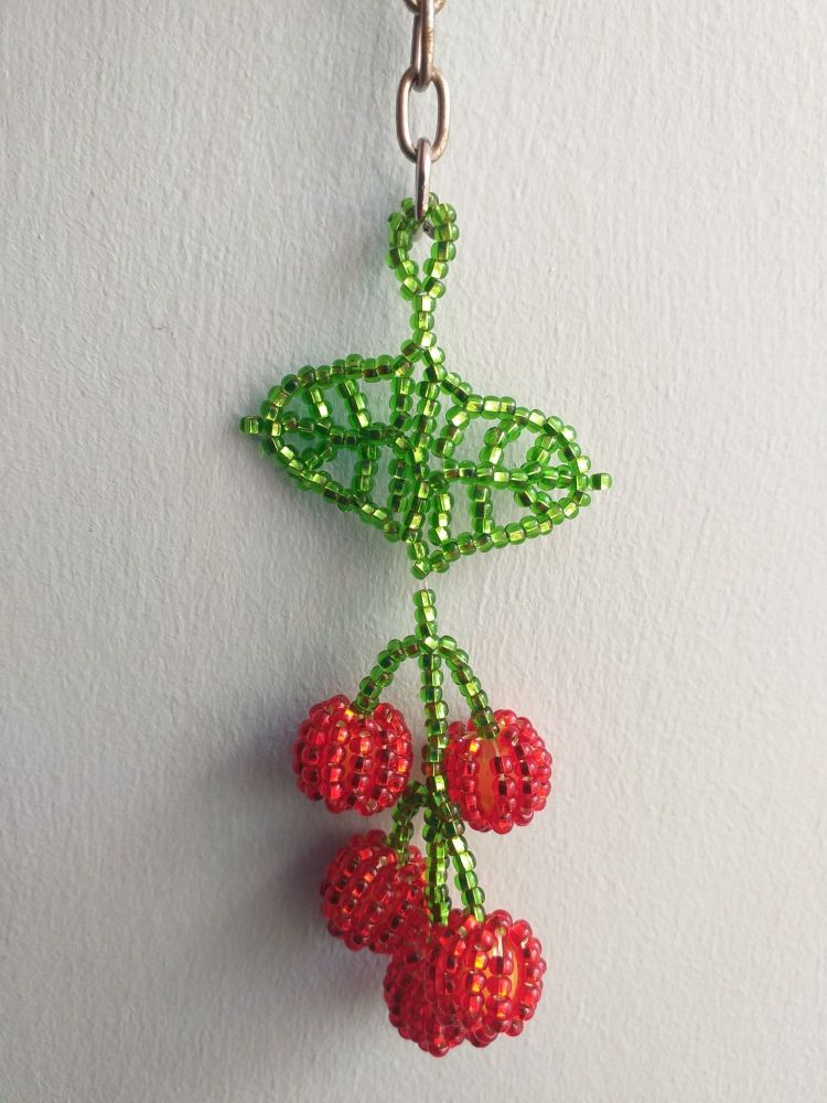 Beaded Keyring - Cherries