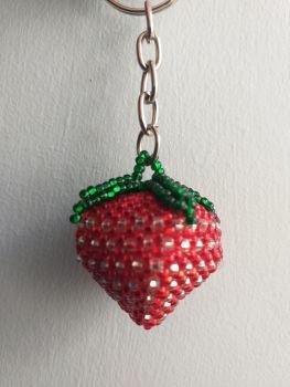 Beaded Keyring - Strawberry