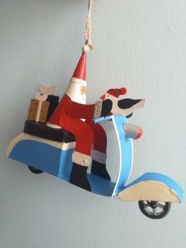 Metal Blue Vespa Santa