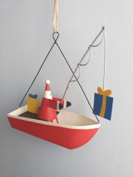 Metal Boat with Presents