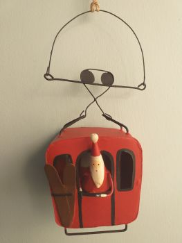 Metal Cable Car Santa - Red