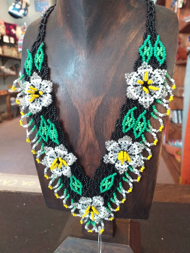 Beaded  Flower Necklace - White