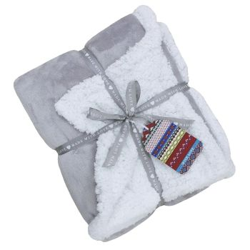 Lux Sherpa Supersoft Throw - Grey