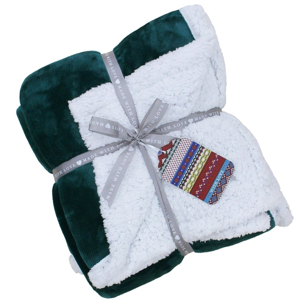 Lux Sherpa Supersoft Throw - Teal Green