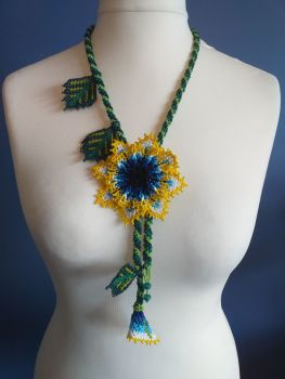 Beaded Rope Flower Necklace - Design 1