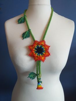 Beaded Rope Flower Necklace - Design 2