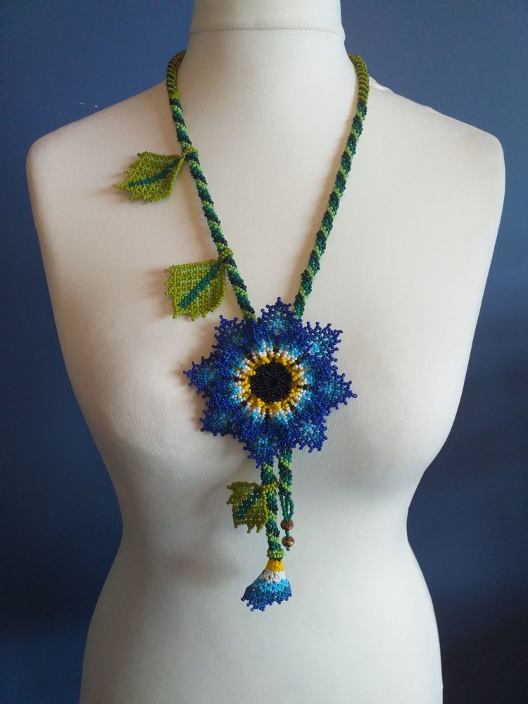 Beaded Rope Flower Necklace - Design 3