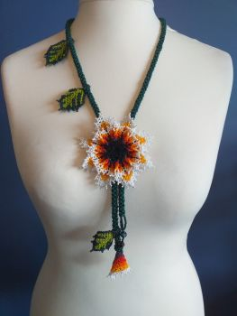 Beaded Rope Flower Necklace - Design 4