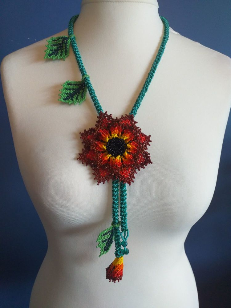 Beaded Rope Flower Necklace - Design 5