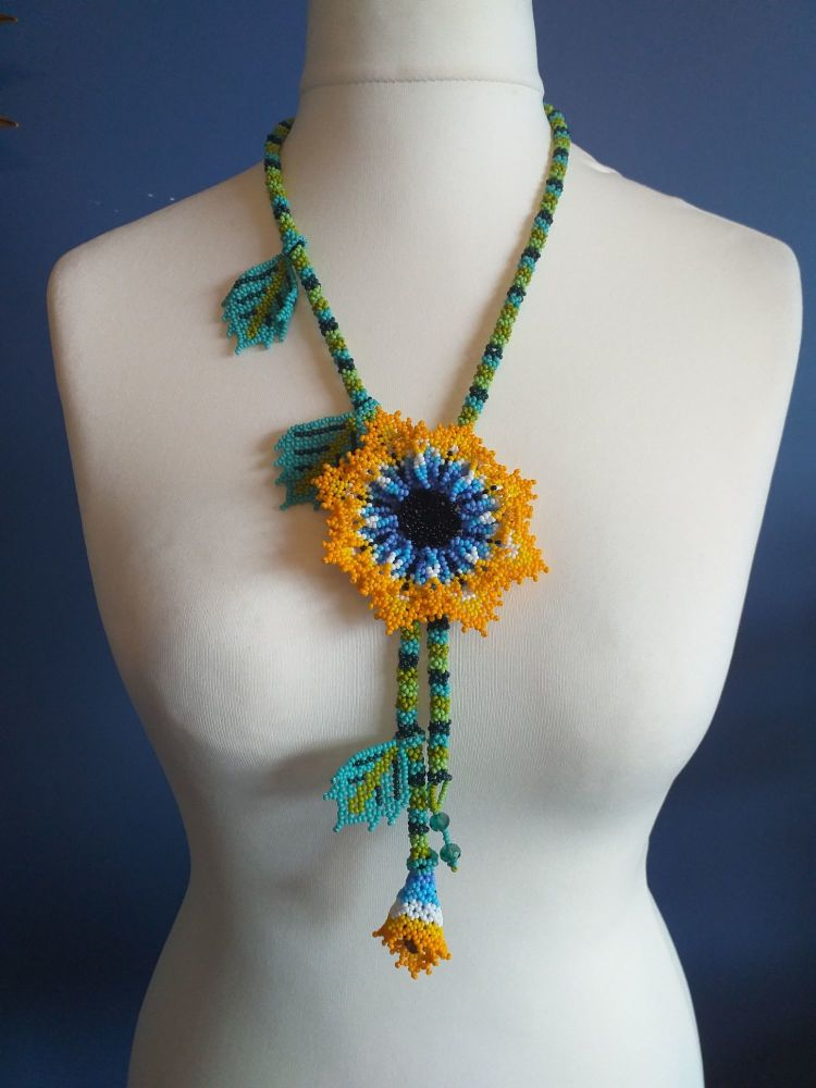 Beaded Rope Flower Necklace - Design 6