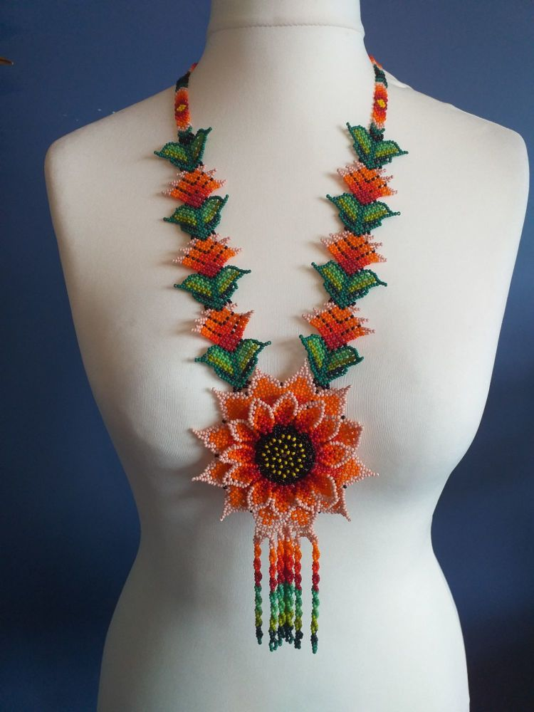 Beaded  Flower Necklace - Design 4
