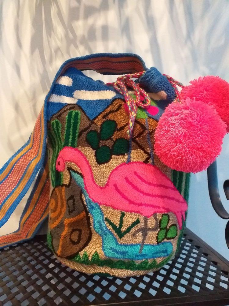 Colombian Wayuu Mochila Bag - Flamingo