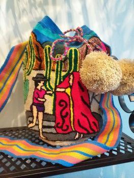 Colombian Wayuu Mochila Bag - Village Life