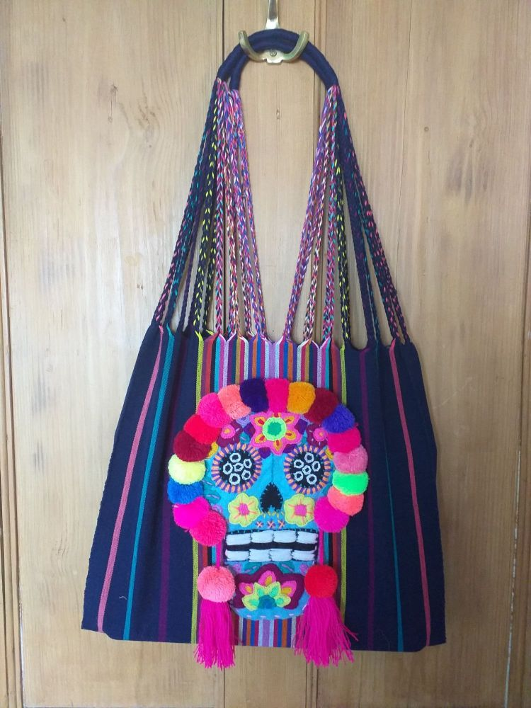 Day of the Dead Skull Bag - Dark Navy Blue