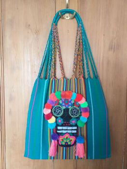Day of the Dead Skull Bag - Jade Green