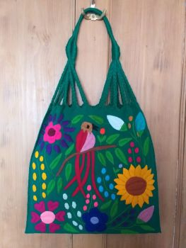 Embroidered Mexican Bag - Bright Emerald Green