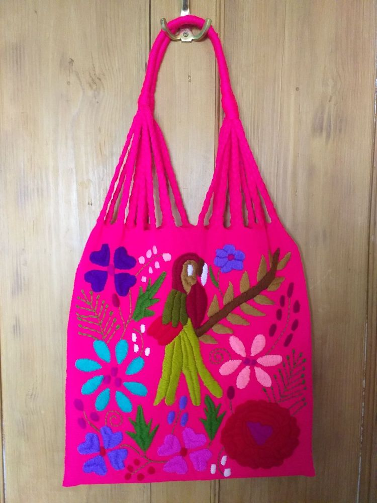 Embroidered Mexican Bag - Neon Pink