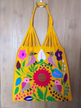 Embroidered Mexican Bag - Yellow