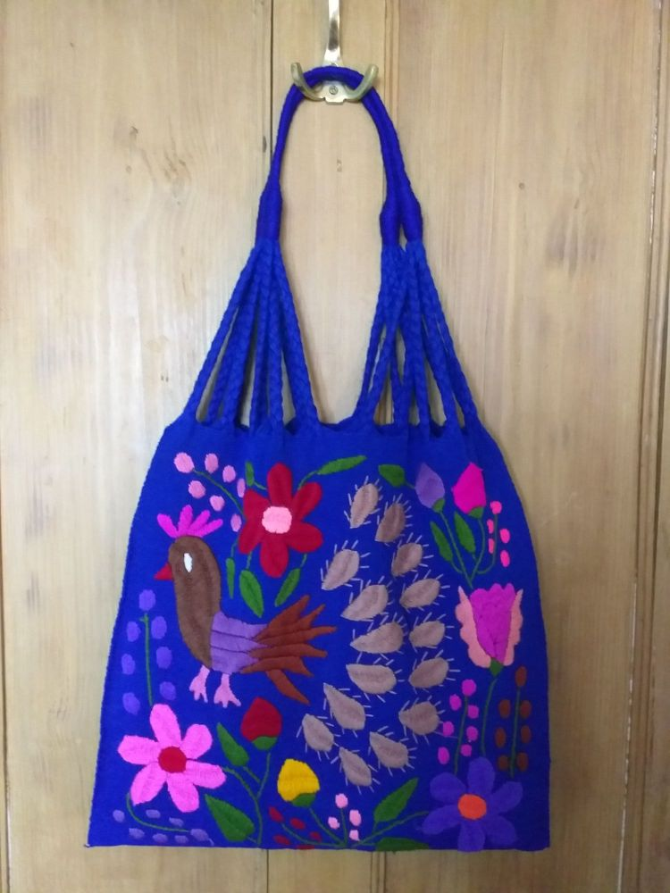 Embroidered Mexican Bag - Royal Blue