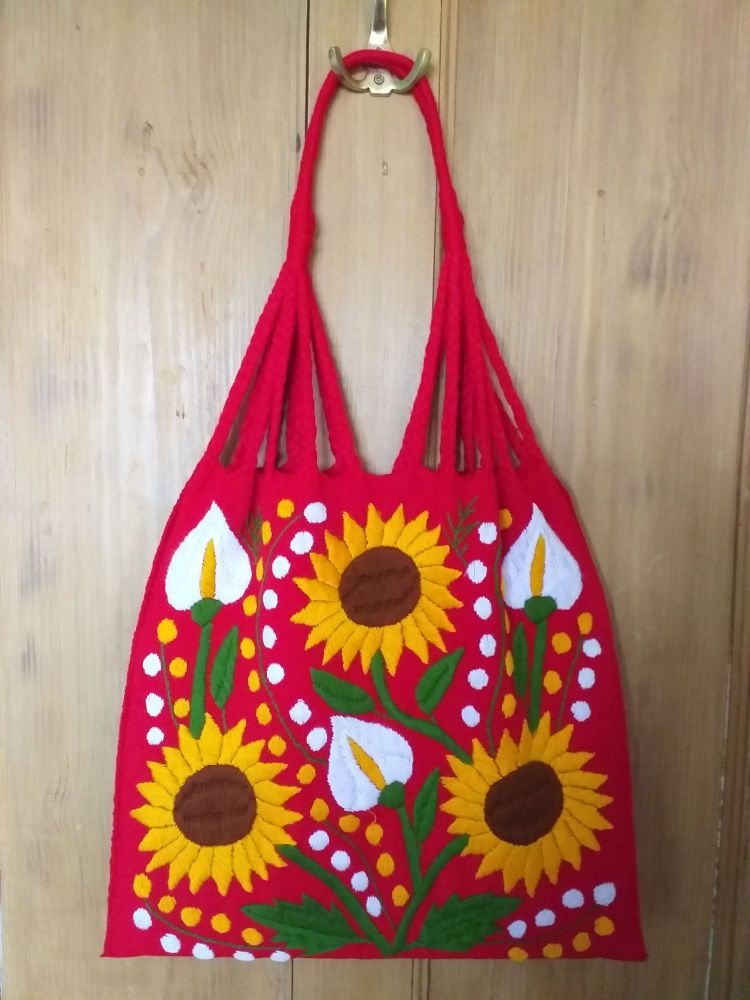 Embroidered Mexican Bag - Red