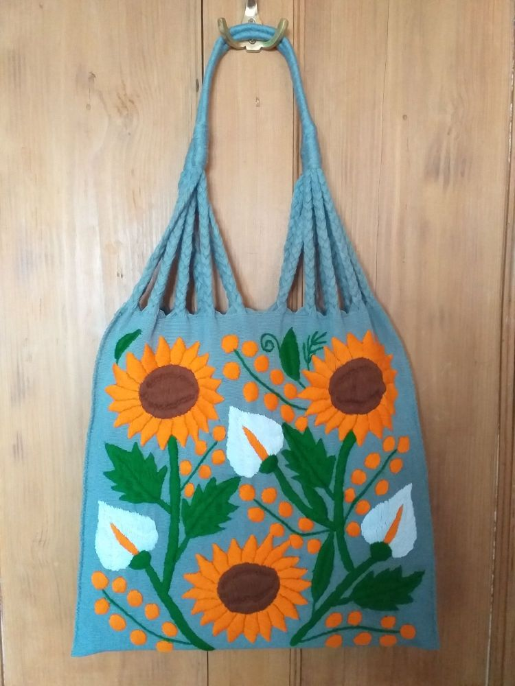 Embroidered Mexican Bag - Grey