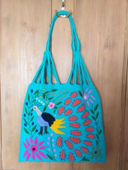 Embroidered Mexican Bag - Light Jade