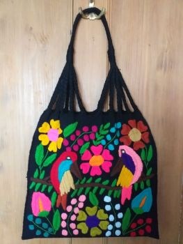 Embroidered Mexican Bag - Black